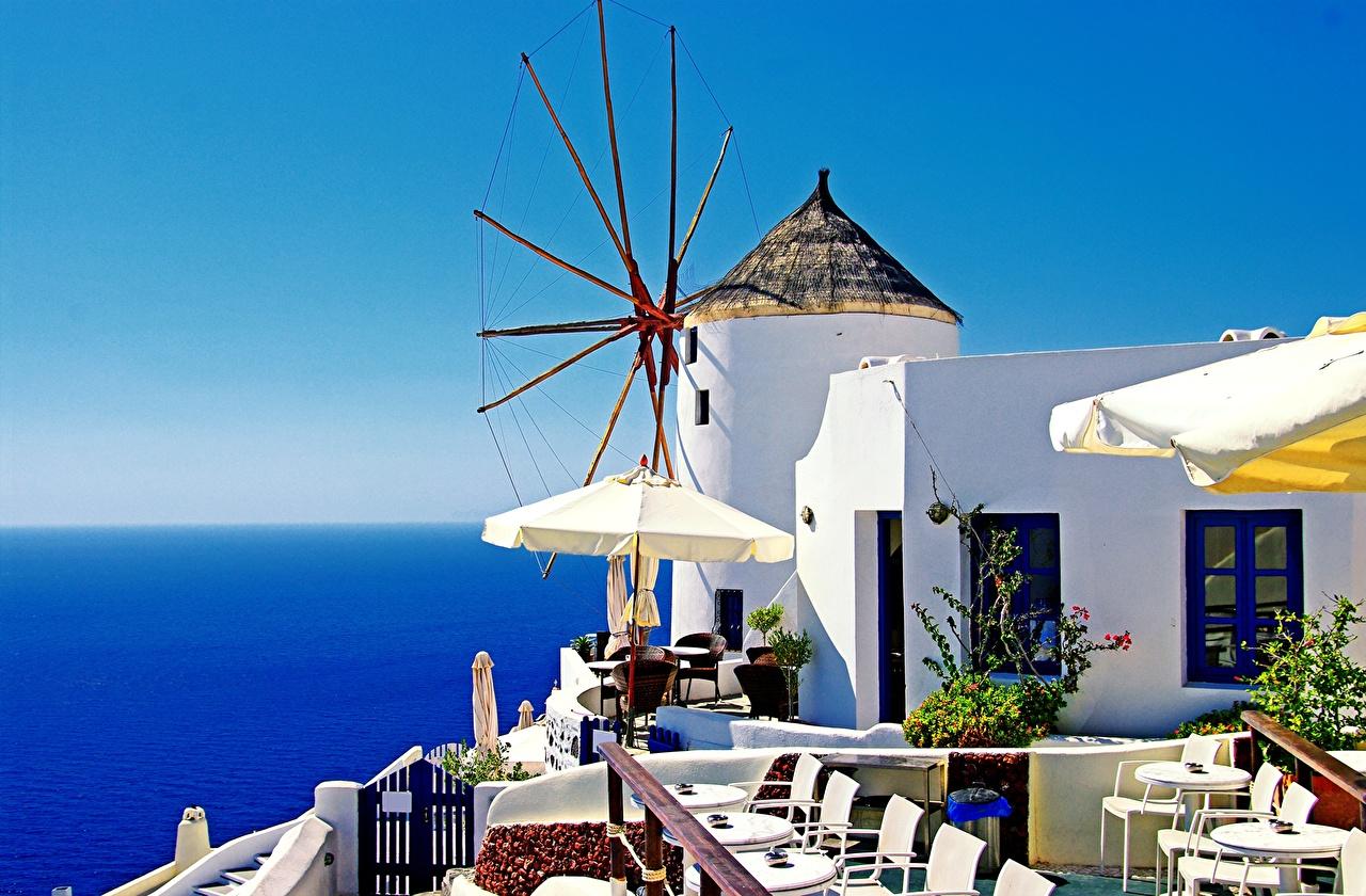 Image Thera Greece Mill Cafe Cities Houses Thira Santorini windmill windmills Building