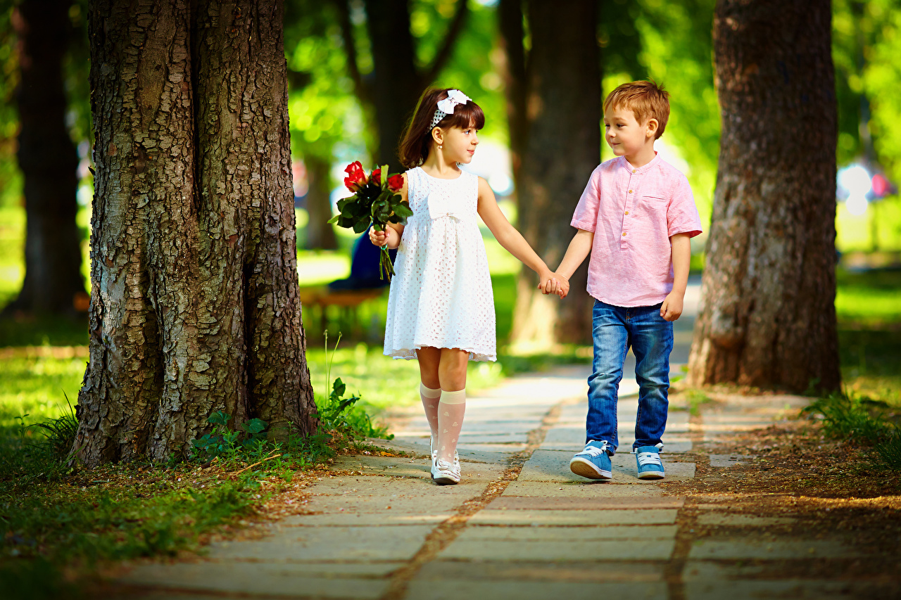 Picture Little girls Boys child Bouquets Two Love Jeans Trunk tree frock bouquet Children 2 gown Dress