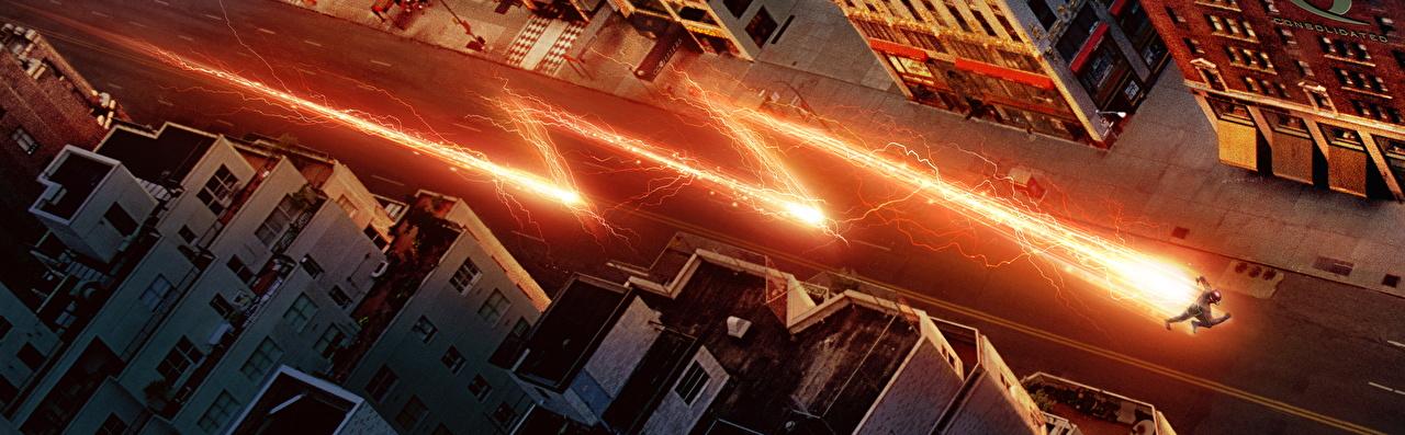 Afbeelding The Flash 2014 Superhelden The Flash held film Wegen Bovenaanzicht weg Films van bovenaf