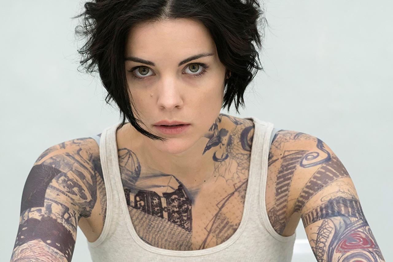 Images Jaimie Alexander Tattoos Brunette girl Blindspot young woman Singlet Glance Celebrities Girls female Sleeveless shirt Staring