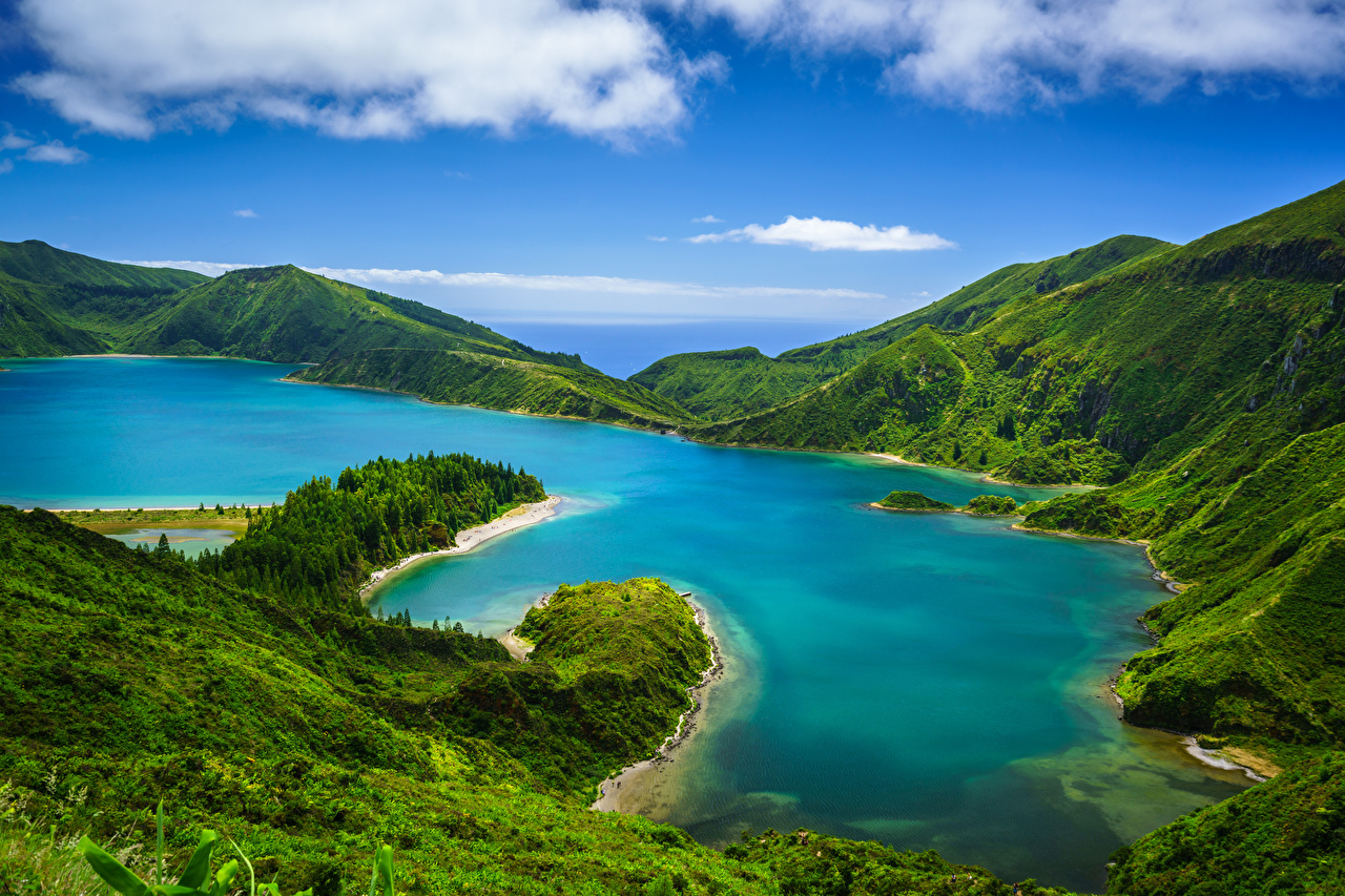 Pictures Portugal Azores, Lagoa do Fogo Nature mountain Lake Hill Clouds Mountains