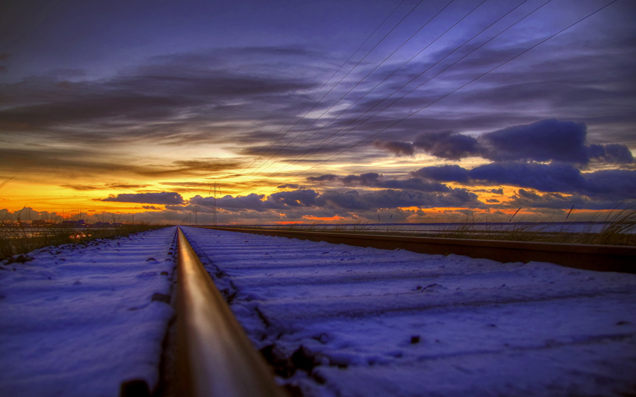 Picture Rails Nature Snow sunrise and sunset Railroads Clouds Closeup Sunrises and sunsets