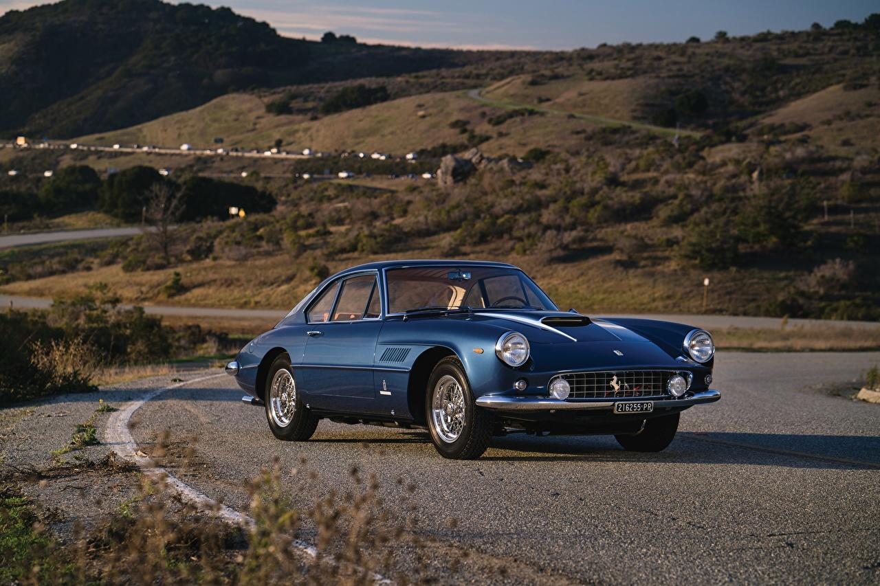 Image Ferrari Blue Retro auto Metallic vintage antique Cars automobile