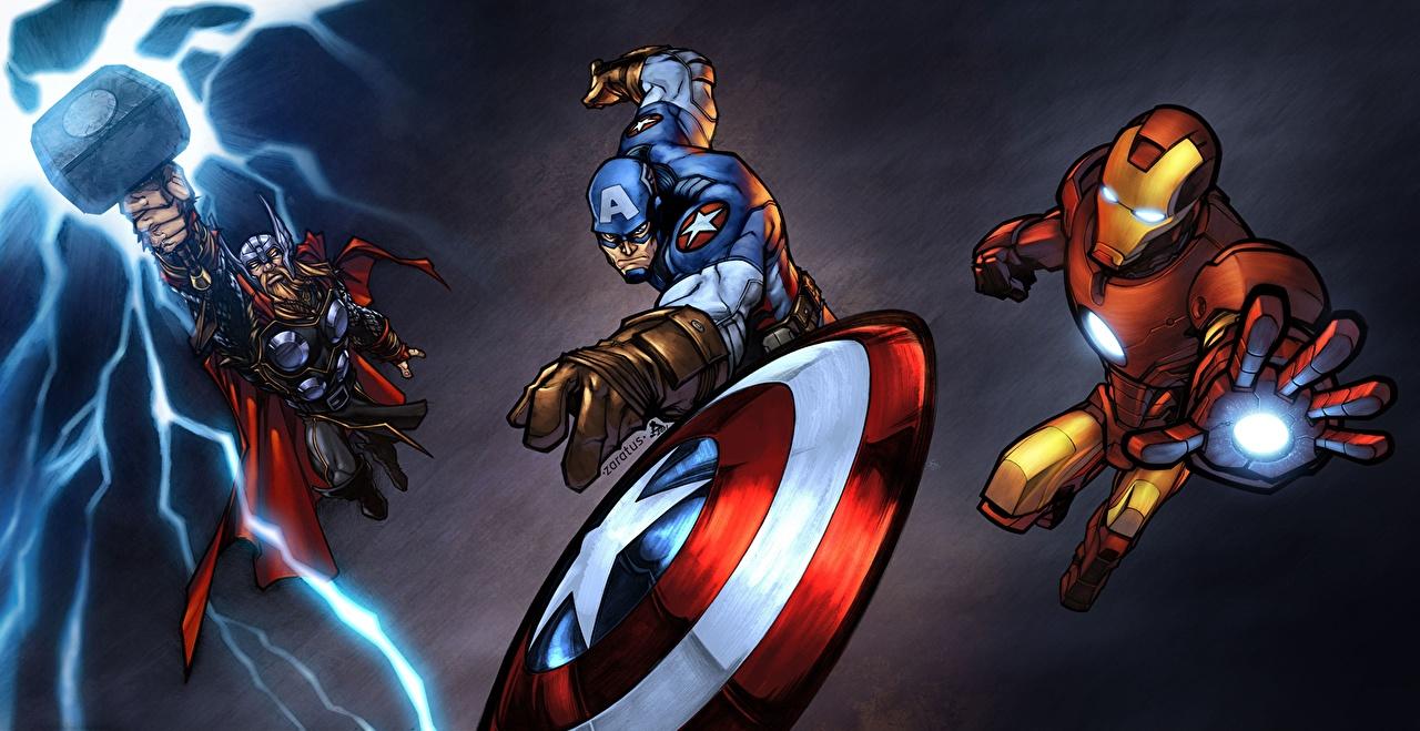 Tapeta superbohaterów Thor superbohater Iron Man superbohater Kapitan Ameryka superbohater Fantasy Bohaterowie komiksów