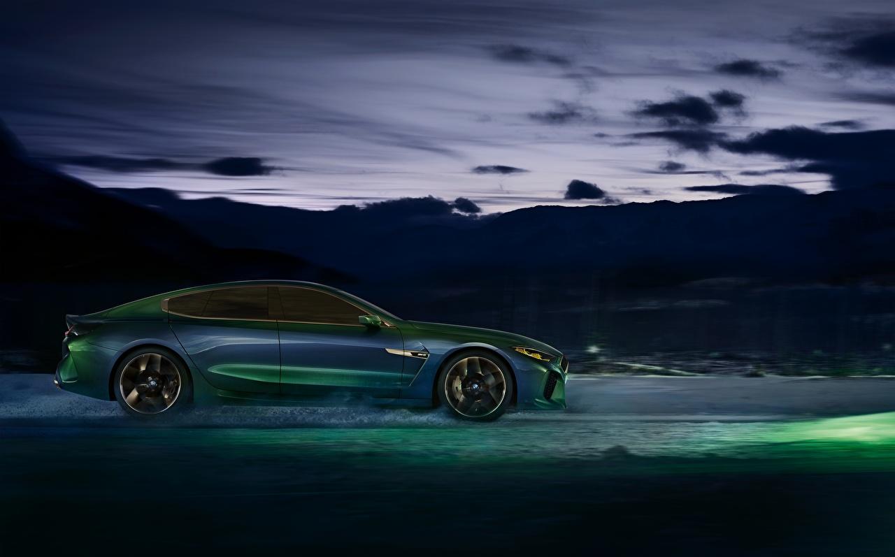 Picture BMW M8 Gran Coupe Concept Green Side Cars auto automobile