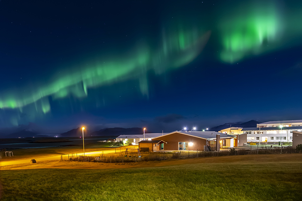 Pictures Iceland Aurora Nature night time Street lights Building polar light northern light Night Houses