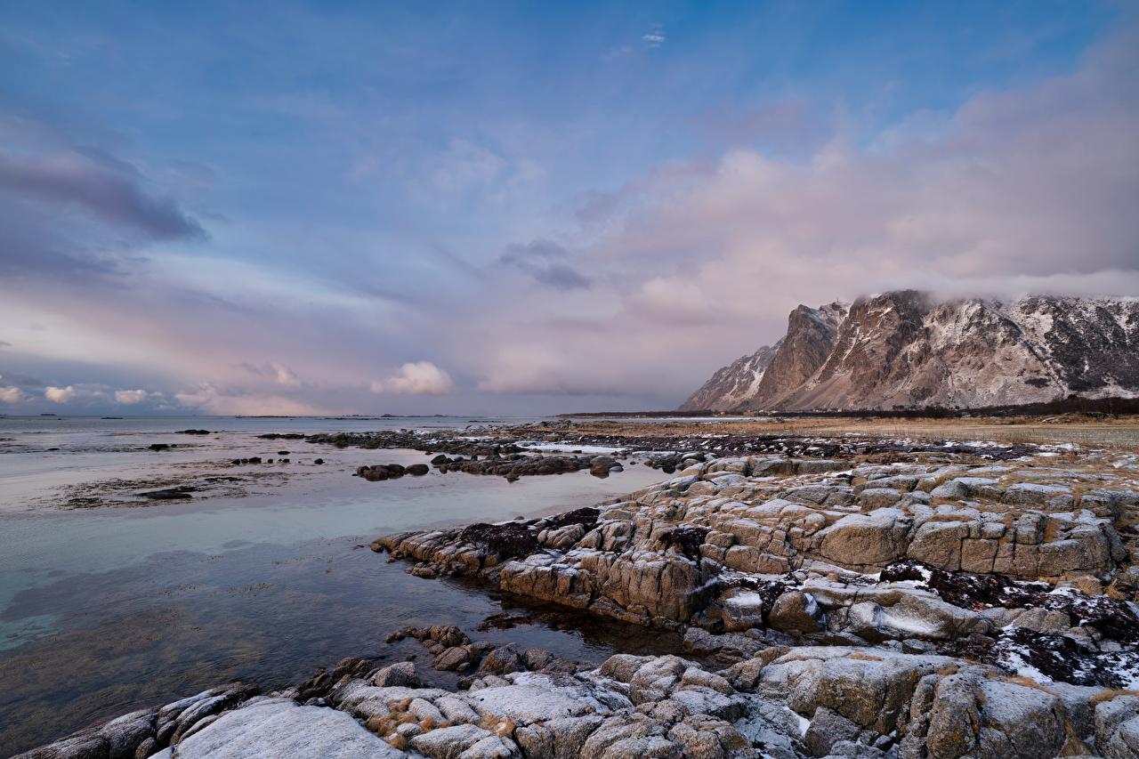 Photos Lofoten Norway Cliff Nature Mountains Coast stone Clouds Rock Crag mountain Stones