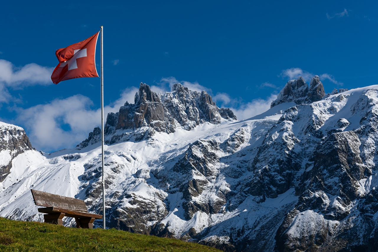 Picture Alps Switzerland Nature mountain Flag Snow Bench Grass Mountains