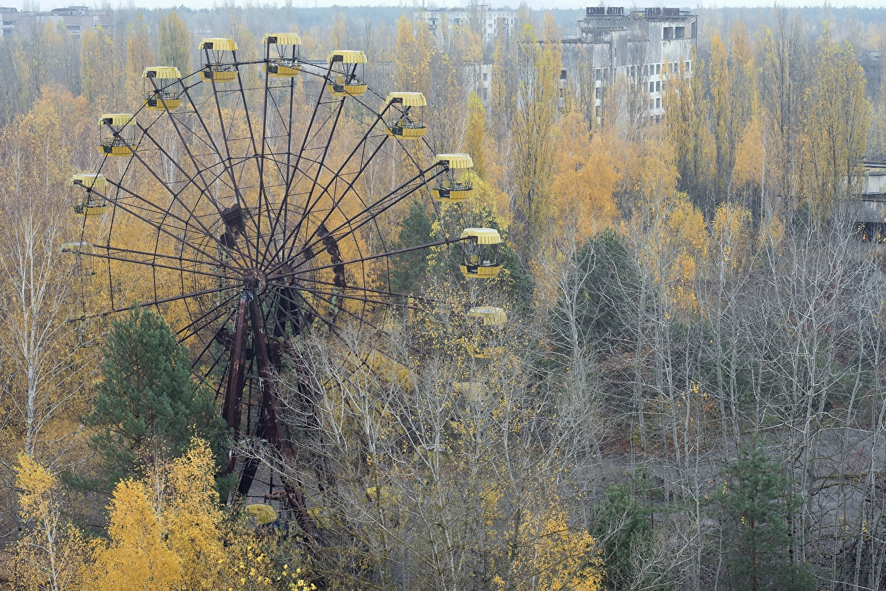 Picture Nature Ukraine Pripyat, Abandoned Amusement Park Cities Chernobyl Trees Ferris wheel