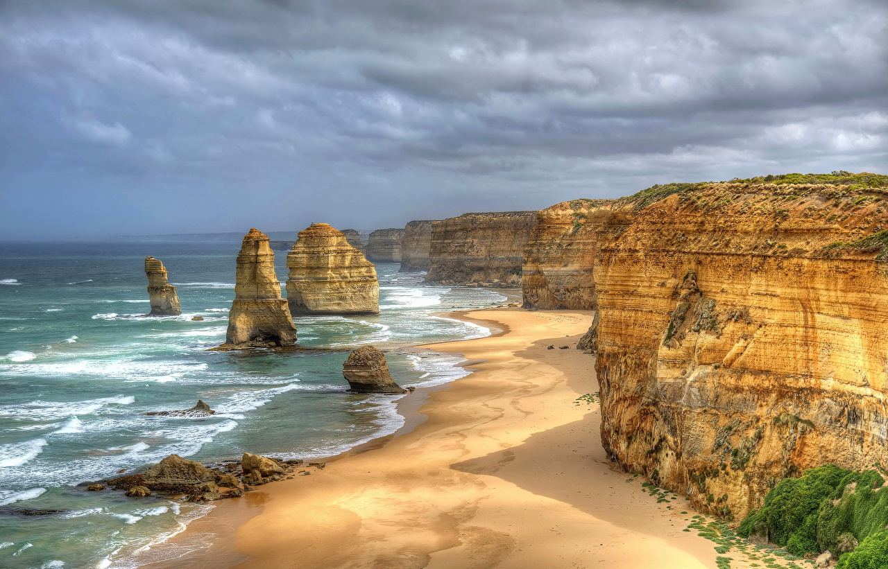Wallpaper Australia Great Ocean Road HDR Crag Nature Coast HDRI Rock Cliff