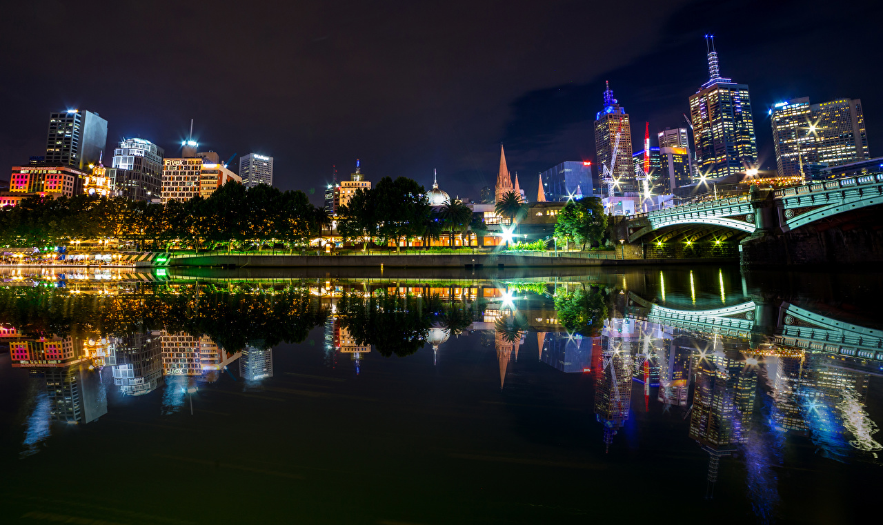 Image Melbourne Australia bridge Reflection river Night Cities Building Bridges reflected Rivers night time Houses