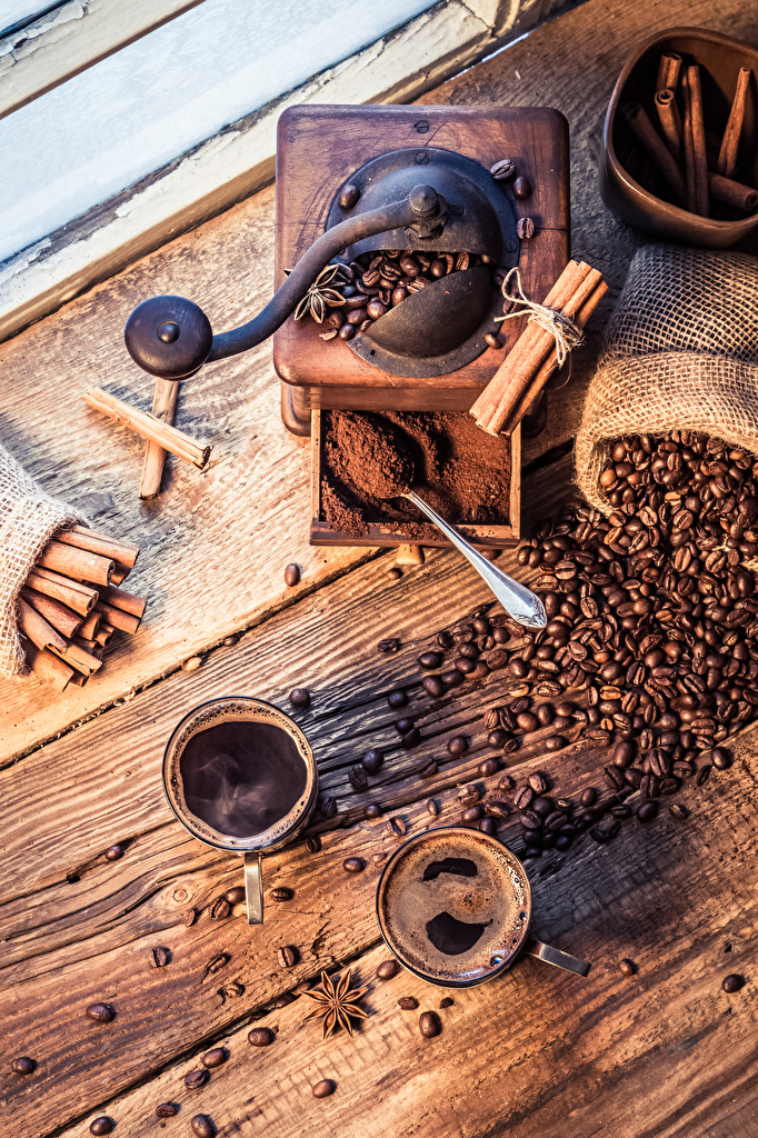 Bilder Kinder Zwei Kaffee Sternanis Zimt Getreide Tasse Bretter 2
