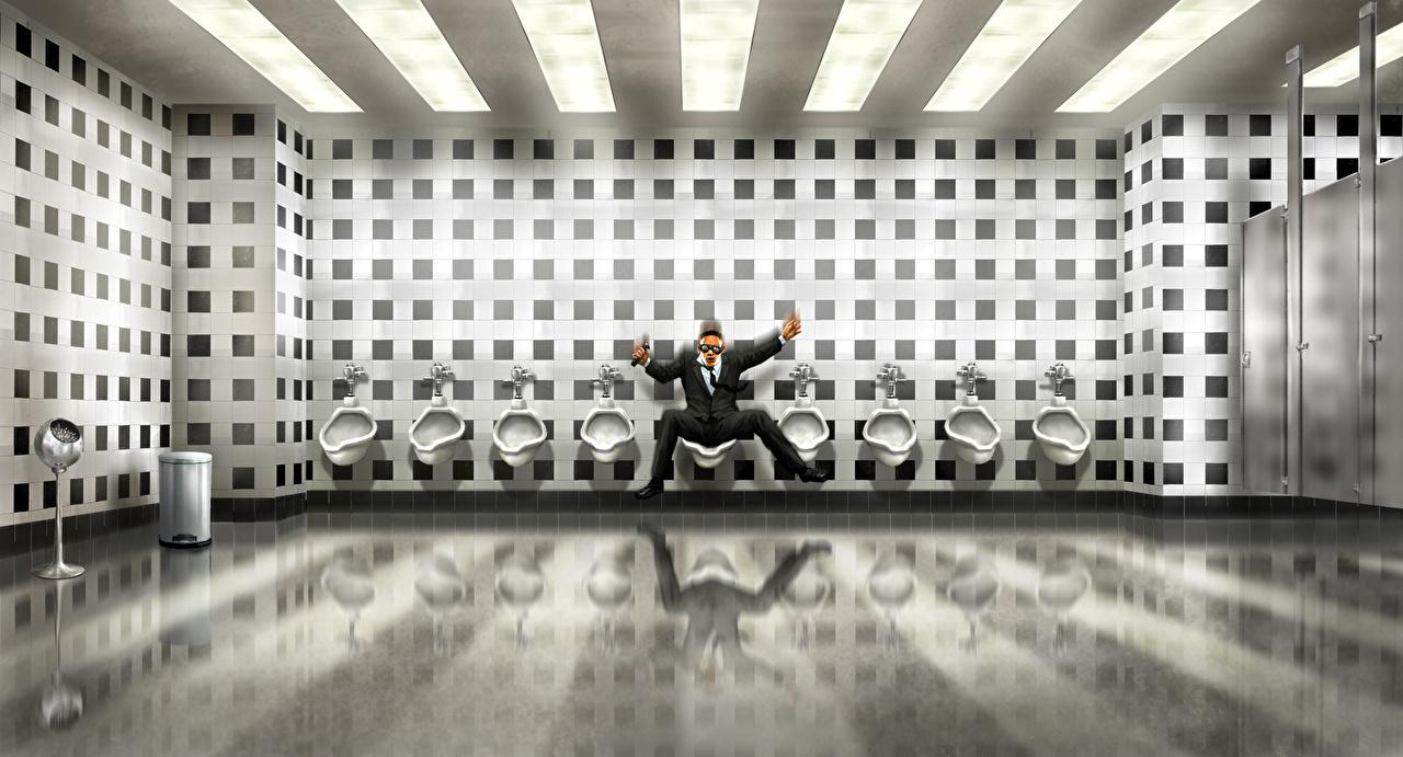 Desktop Wallpapers Men in Black 3 Man Toilet Fanart Movies wc Men restroom toilet room Fan ART film