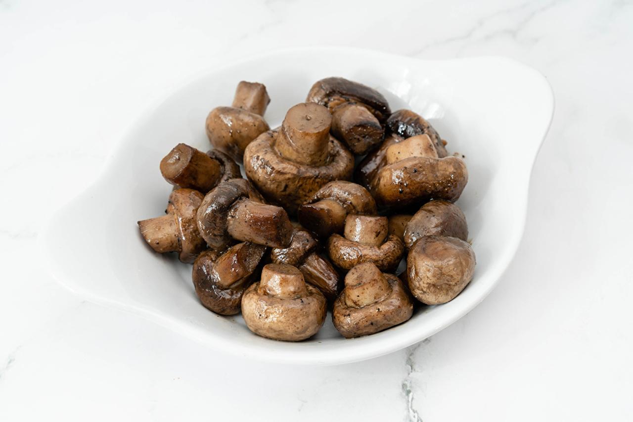 Images Agaricus bisporus Mushrooms Food Plate Champignon