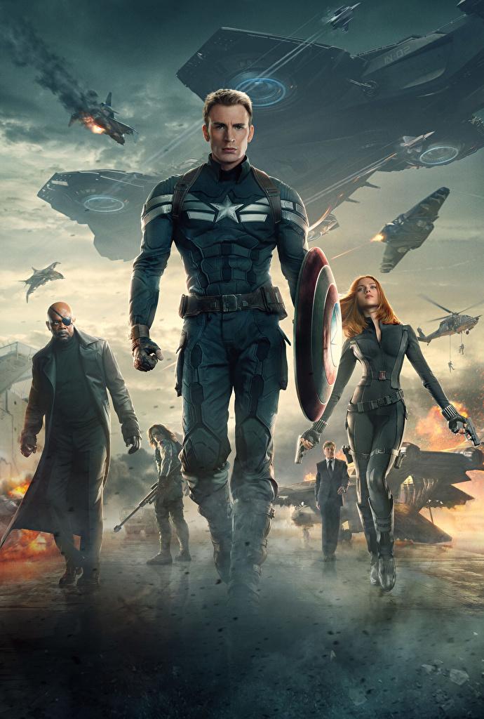Images Captain America: The Winter Soldier Chris Evans Scarlett Johansson Shield Heroes comics Captain America hero Black Widow. Bucky Mask film Celebrities  for Mobile phone superheroes Movies