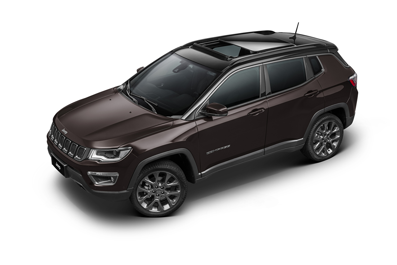 Desktop Wallpapers Jeep Crossover Compass S Latam (MP), 2019 auto Metallic White background CUV Cars automobile