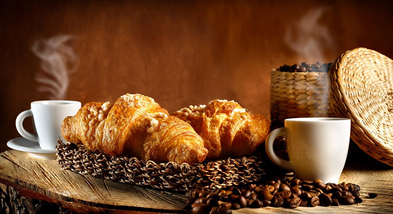 Images Coffee Croissant Grain Cup Food Vapor