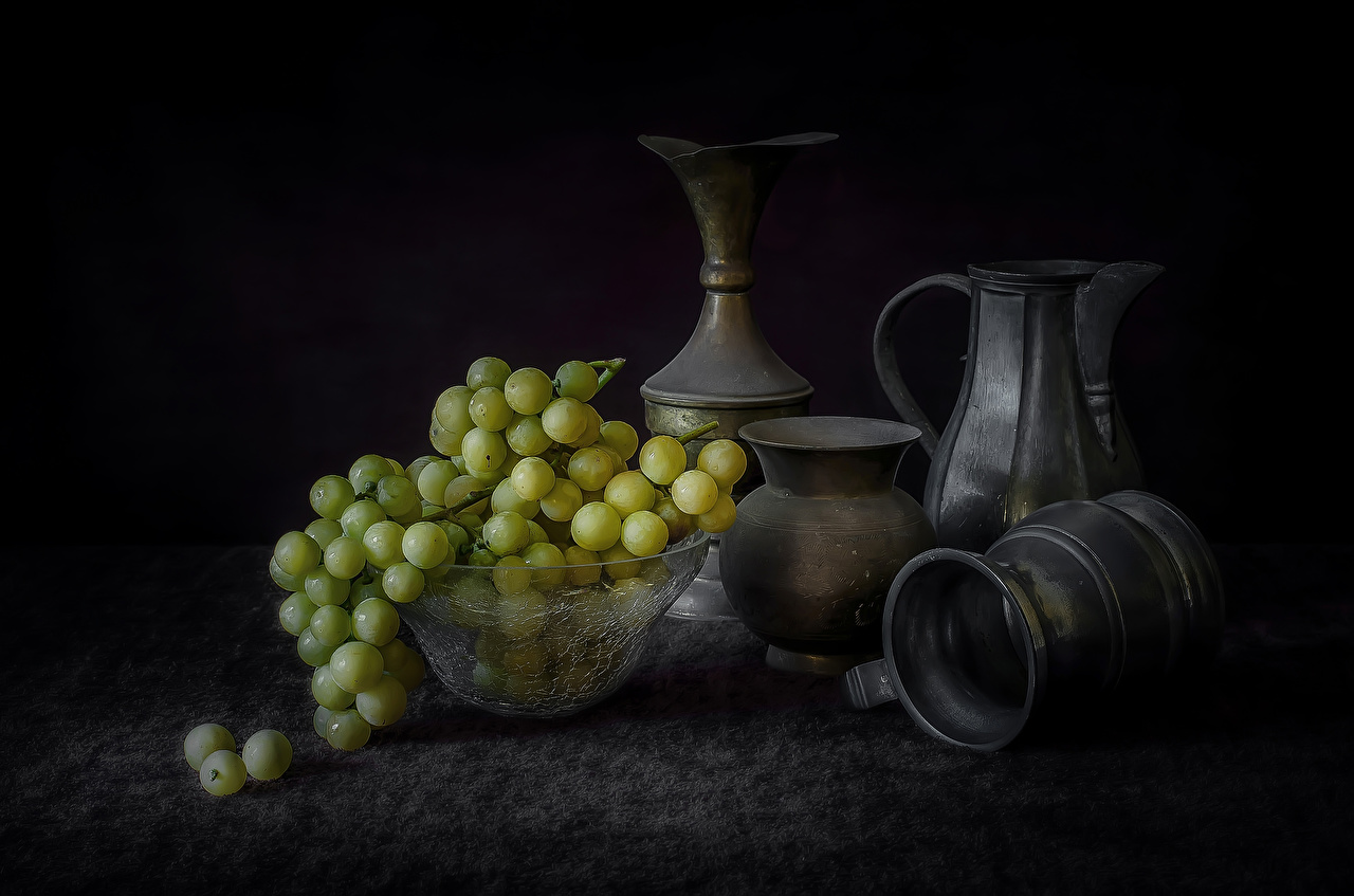 Foto Kanne Weintraube Lebensmittel Stillleben