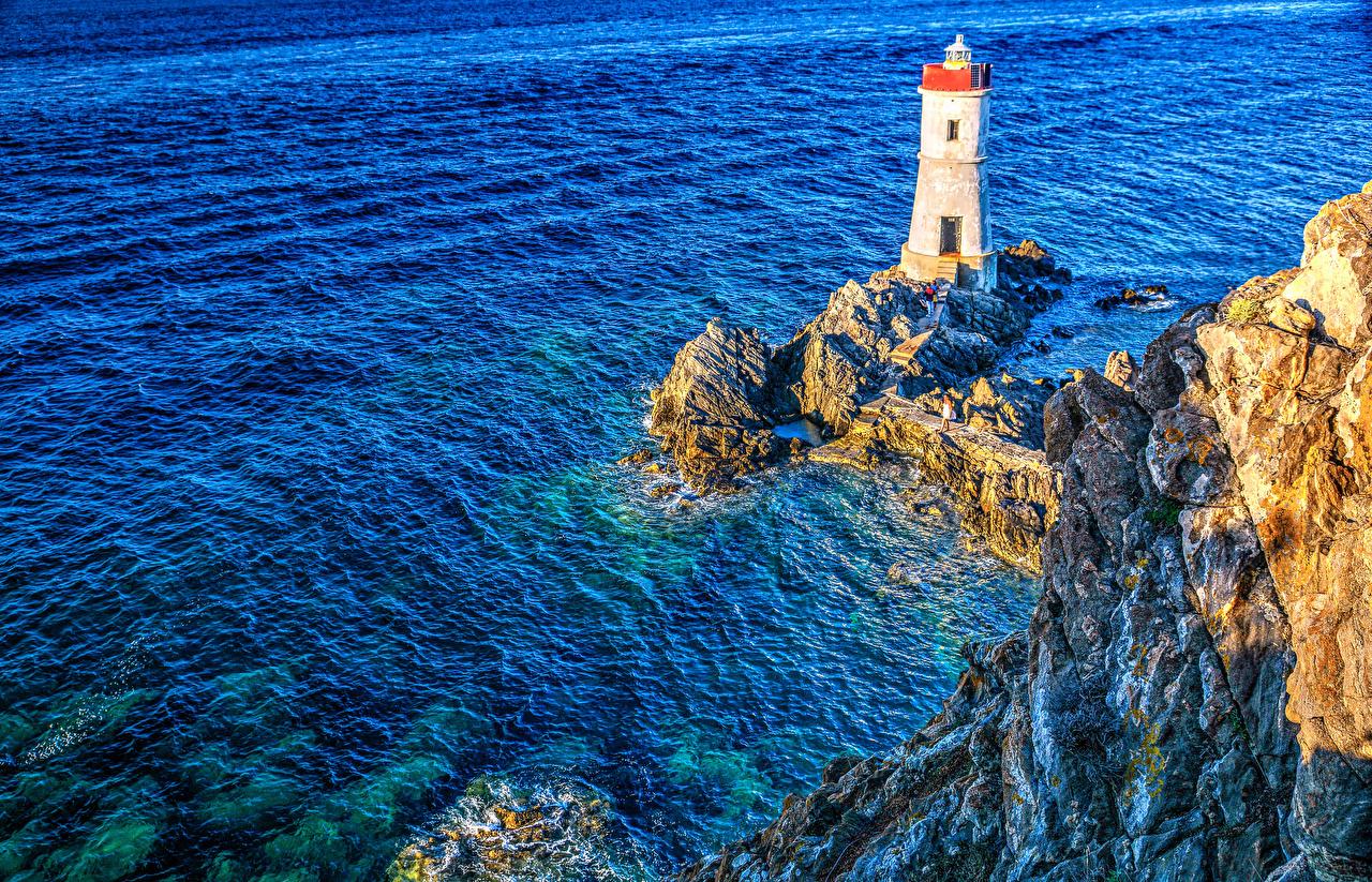 Desktop Wallpapers Italy Sardinia Sea Rock HDRI Nature Lighthouses HDR Crag Cliff