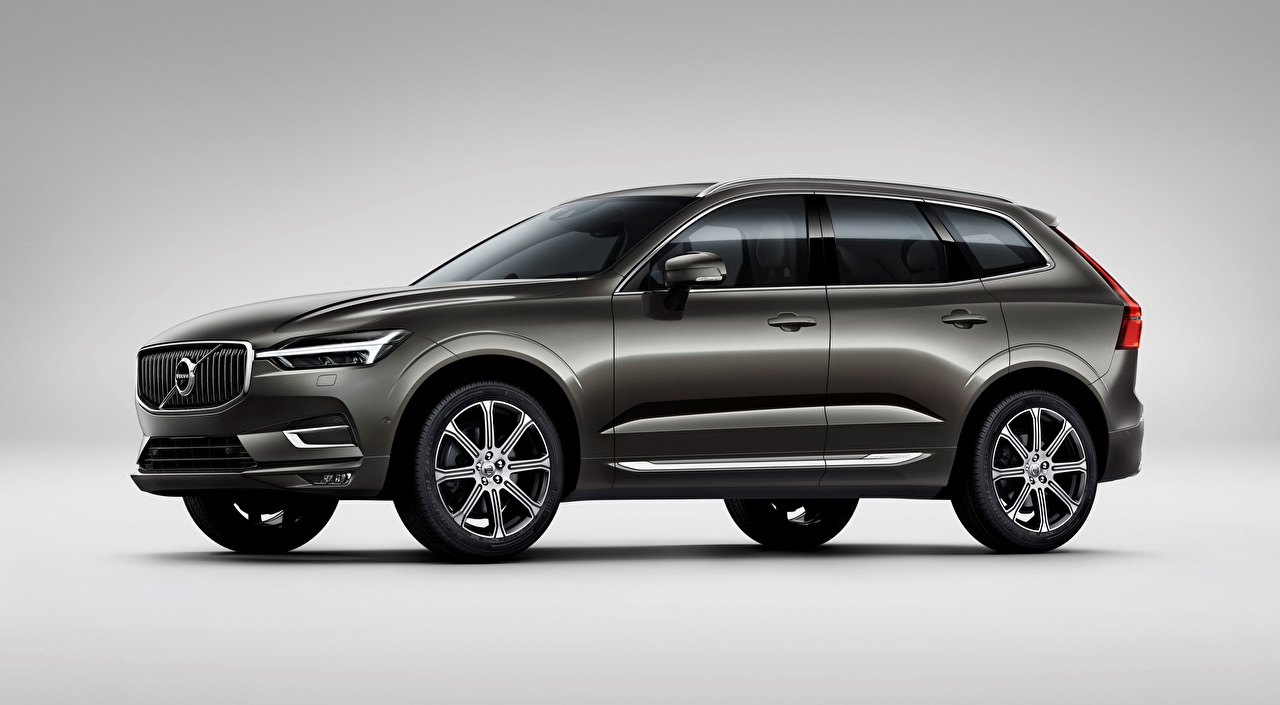 Pictures Volvo CUV XC60, T6, Inscription, 2017 Grey Side Cars Gray background Crossover gray auto automobile