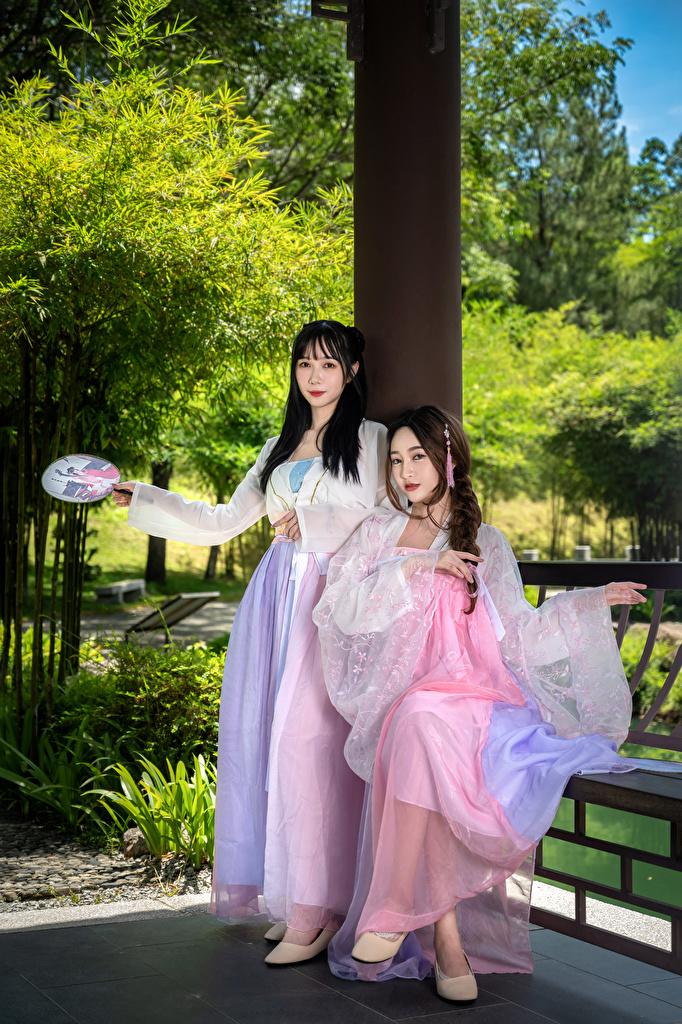 Foto 2 Mädchens Asiaten Blick Kleid  für Handy Zwei junge frau junge Frauen Asiatische asiatisches Starren