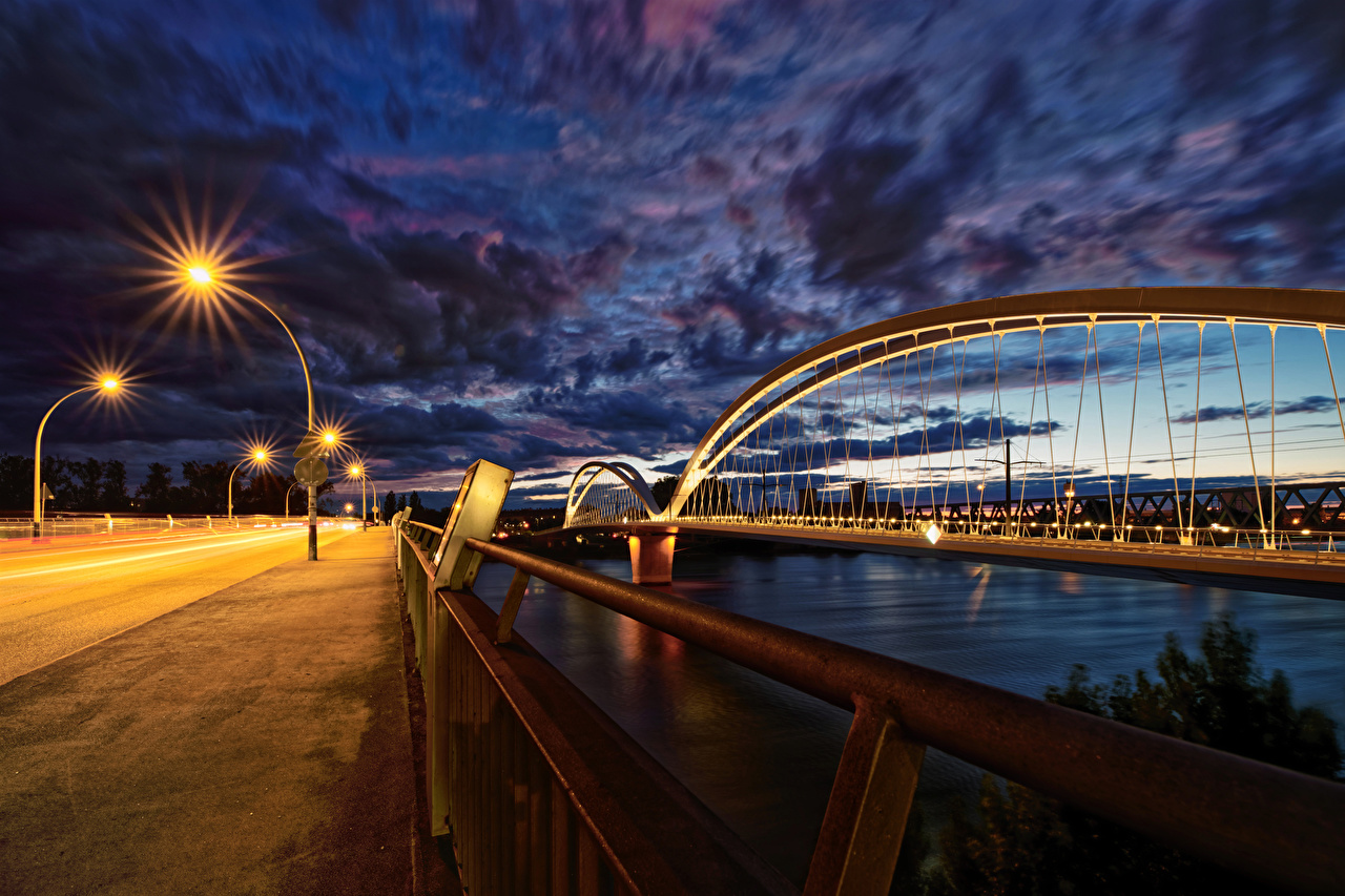 Images Strasbourg France Bridges Fence river Evening Cities bridge Rivers