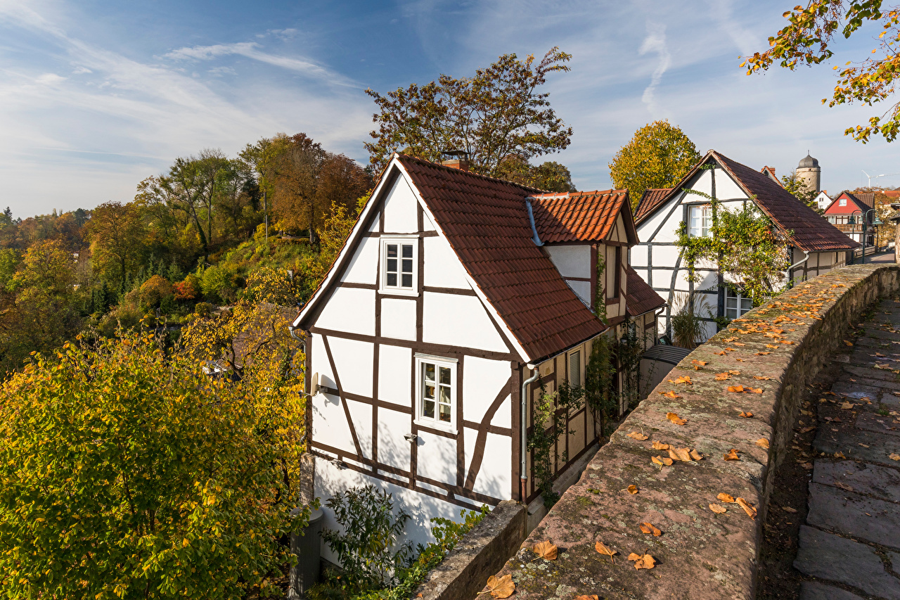 Wallpaper Germany Warburg Autumn Trees Houses Cities Building