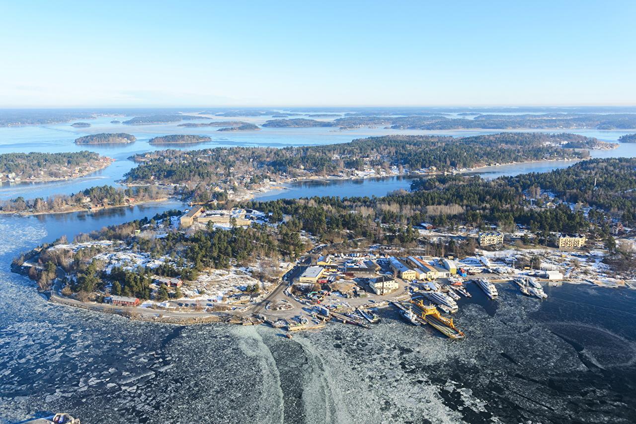 、スウェーデン、島、冬、湖、、都市、自然、