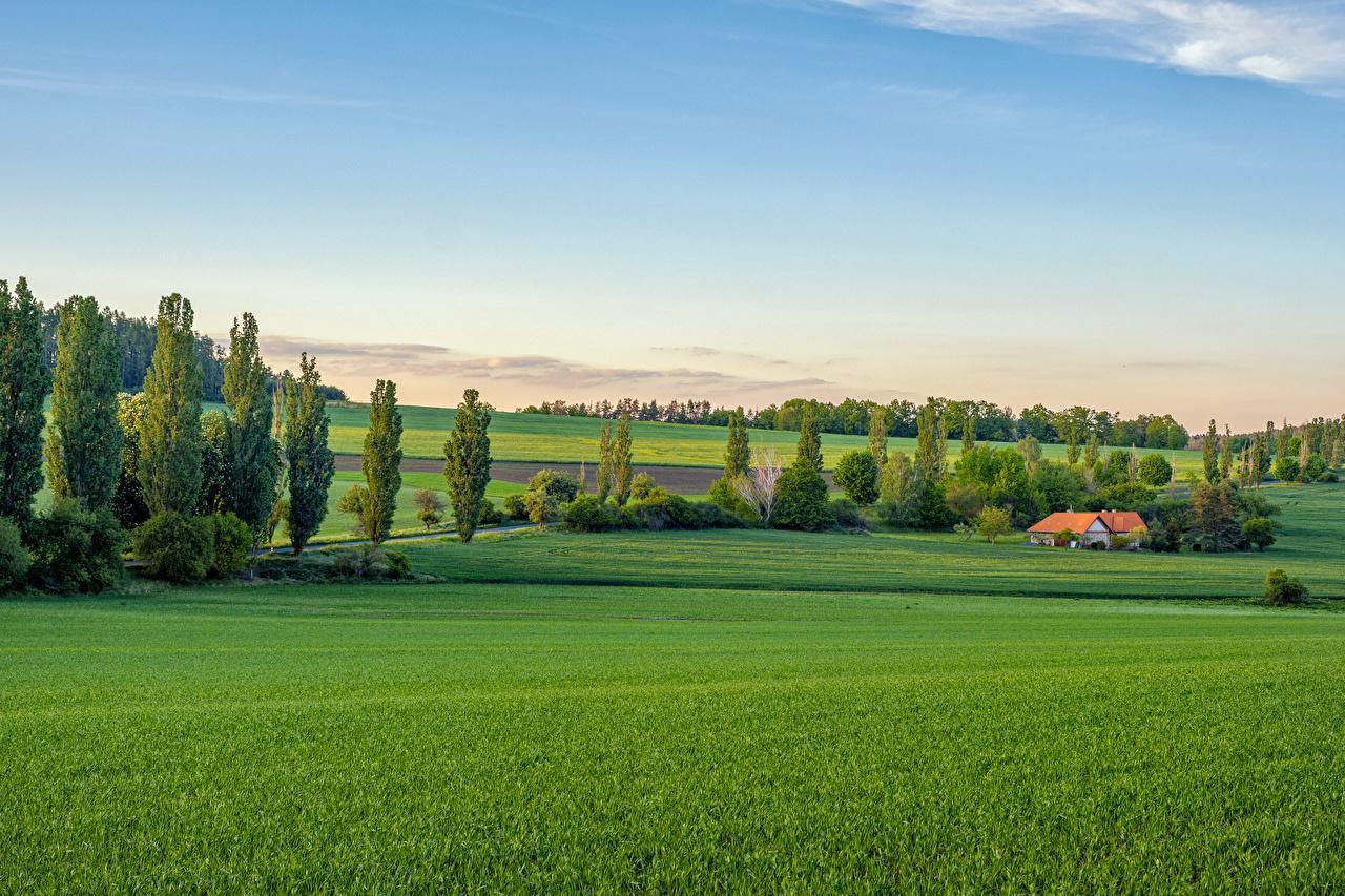 Photos Czech Republic Bohemian landscape Nature Fields Trees Houses Building