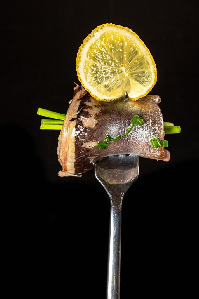 Foto Zitrone Fische - Lebensmittel Gabel Lebensmittel Schwarzer Hintergrund  für Handy Zitronen Essgabel das Essen