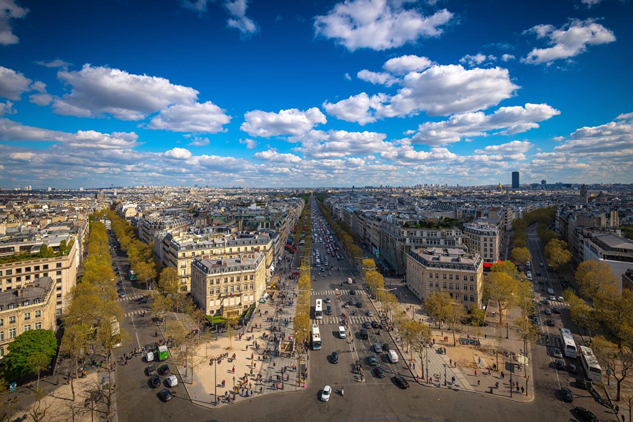 Bilder Paris Frankrike Place Charles De Gaulle Gate Himmelen Ovenfra