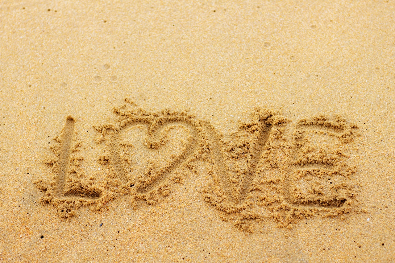 Photo Heart Love Sand Word - Lettering text lettering