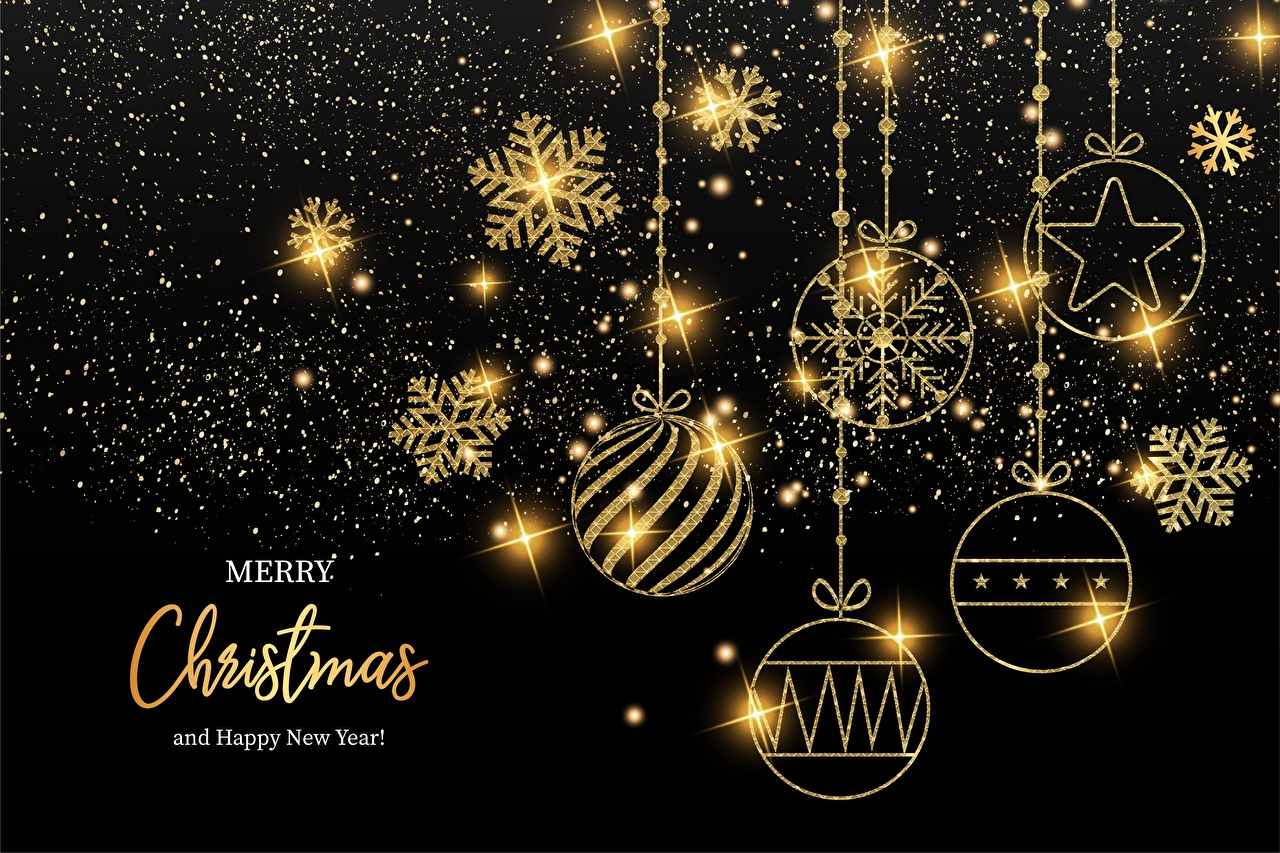 Desktop Wallpapers New year English Snowflakes Gold color Word - Lettering Balls Christmas text lettering