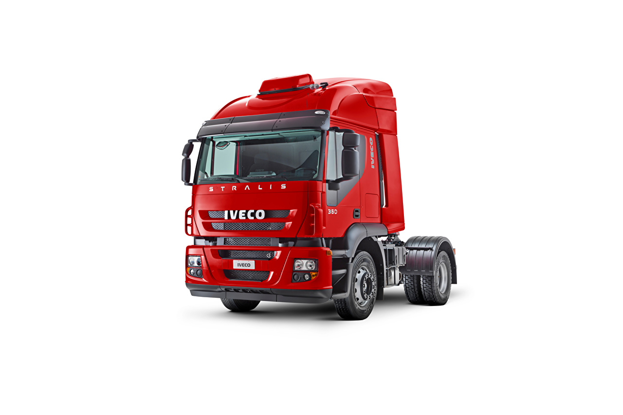 Picture IVECO lorry Red auto White background Trucks Cars automobile