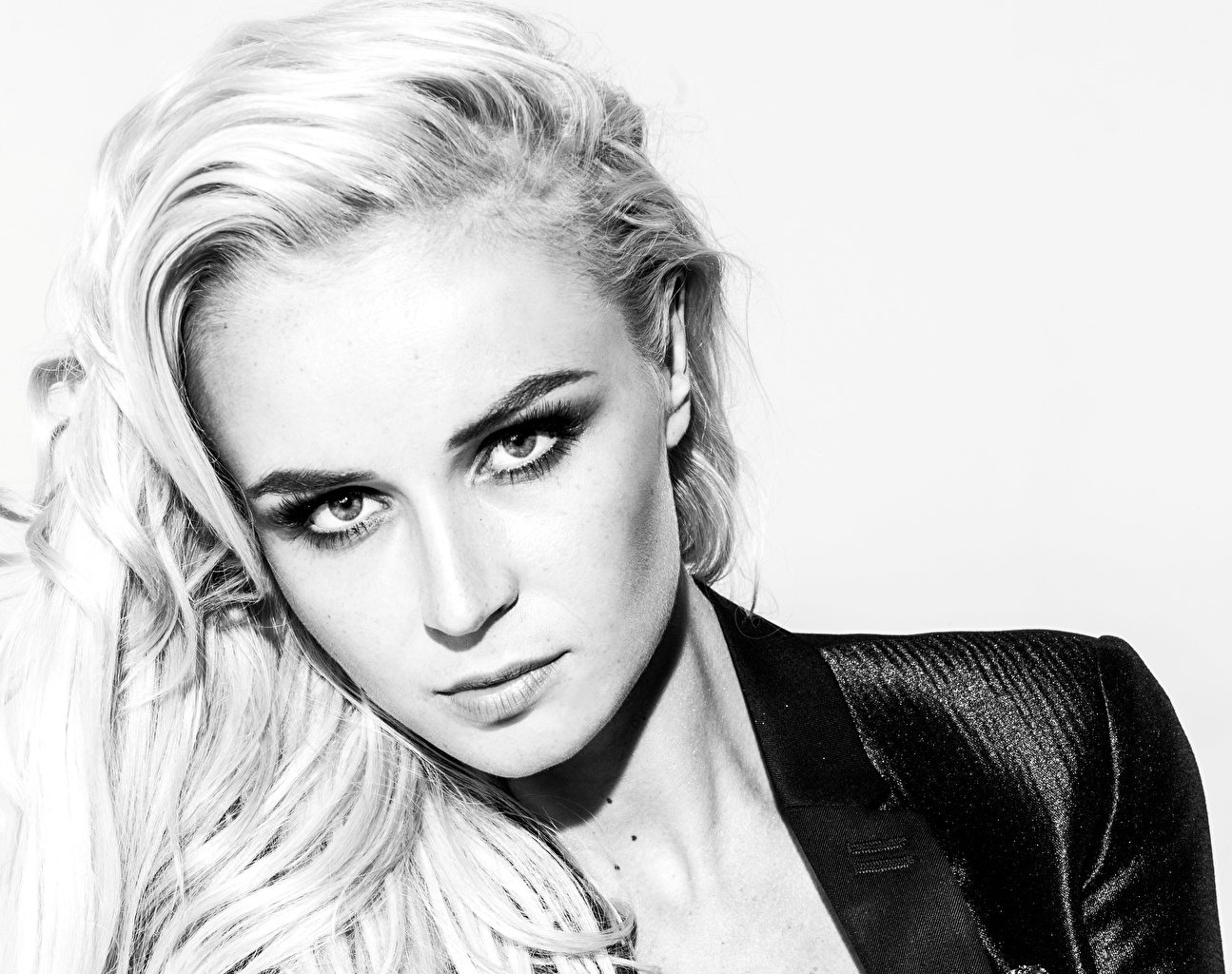 Image Polina Gagarina Face young woman Black and white Glance Celebrities Girls female Staring