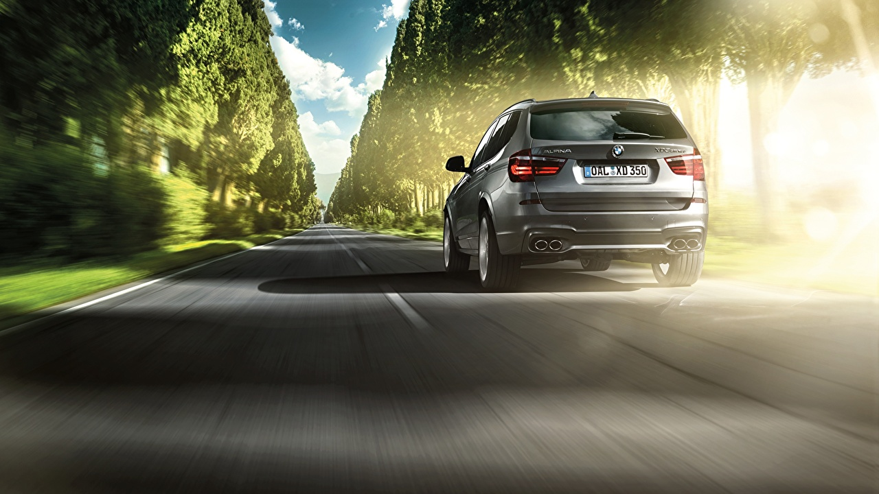 Image BMW 2014 Alpina X3 XD3 Bi-Turbo UK-spec F25 Roads driving auto Back view moving riding Motion at speed Cars automobile