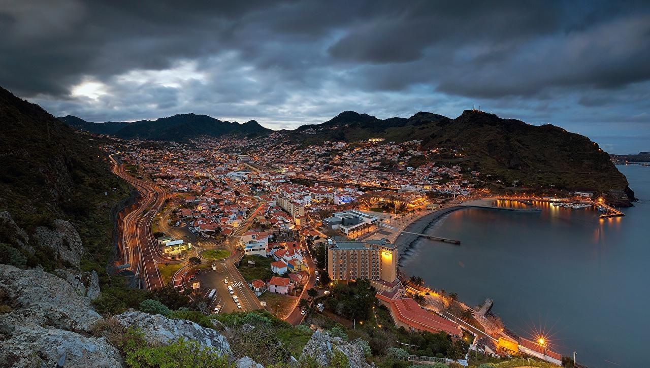 Bilder Portugal Madeira, Machico Bay Ozean Abend Küste Von oben Haus Städte Gebäude