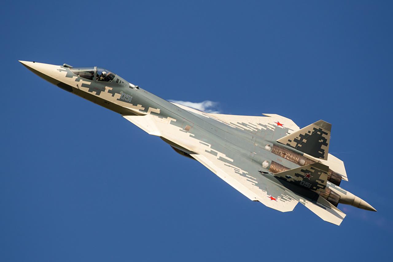 Bilder Jagdflugzeug Flugzeuge Russische SU-57 Flug Luftfahrt russisches russischer