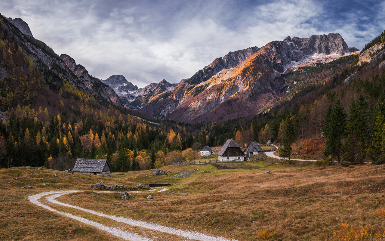 Pictures Alps Slovenia Trenta valley Nature Autumn Mountains Roads Forests Houses Building