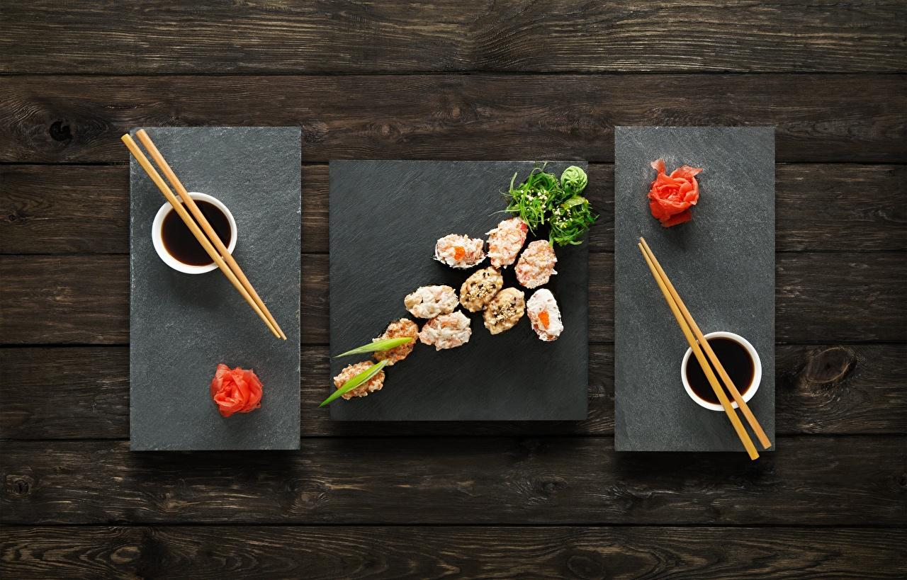 Pictures Ginger Soy sauce Sushi Food Chopsticks soya sauce