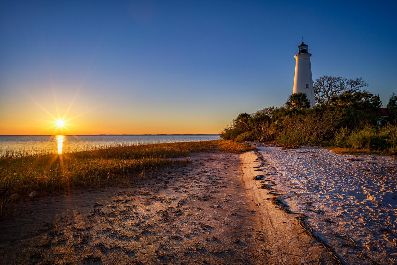 Foto's Florida (staat) verenigde staten Zon Natuur Vuurtoren Zonsopgangen en zonsondergangen De kust Struiken Amerika