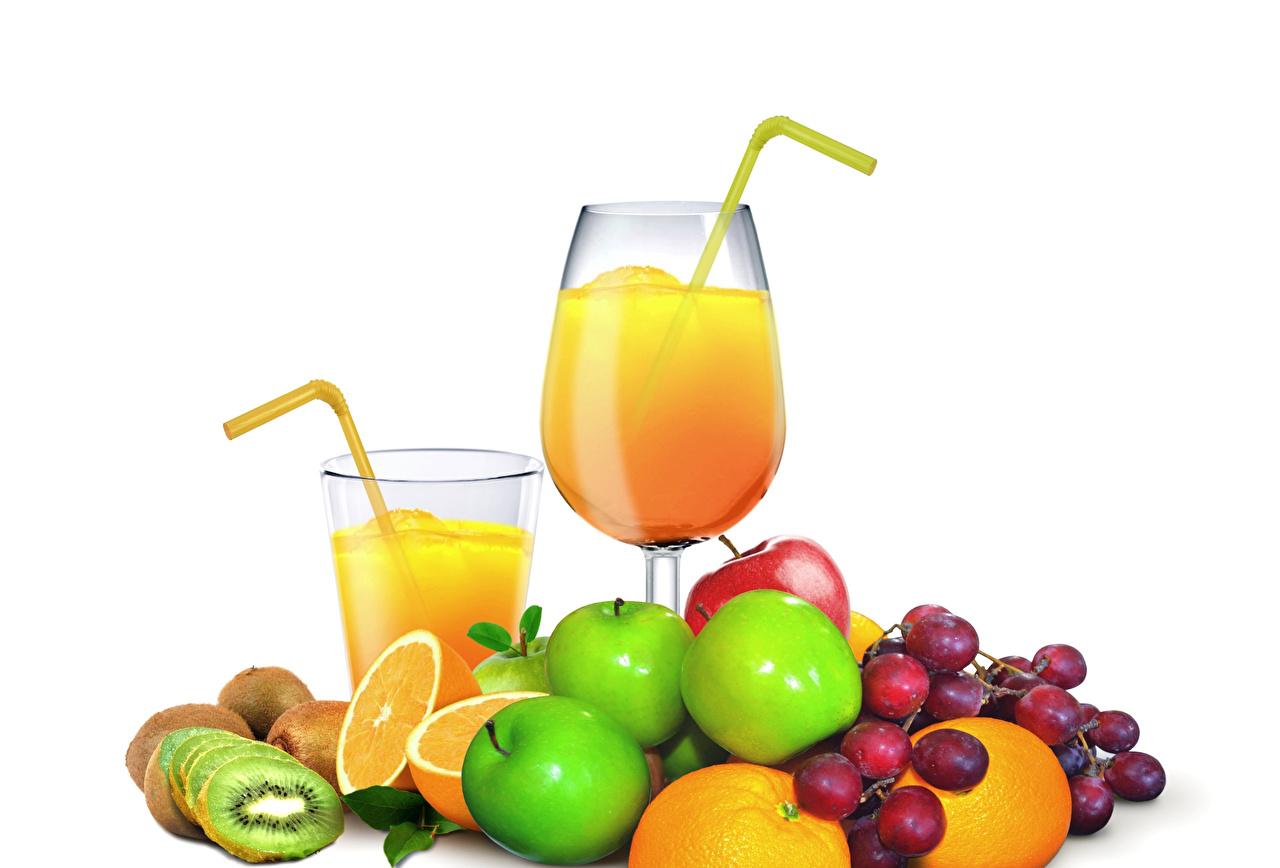 Photos Juice Orange fruit Kiwi Grapes Apples Highball glass Food Fruit Stemware White background Kiwifruit Chinese gooseberry
