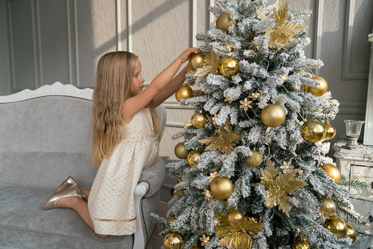 Picture Little girls Christmas child New Year tree Balls Holidays New year Children Christmas tree