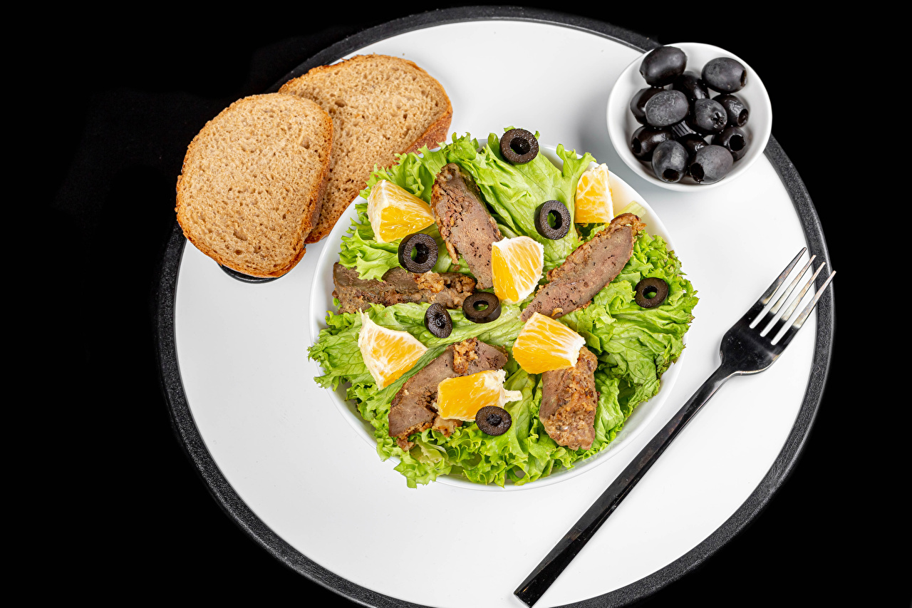Photos Olive Bread Fork Food Plate Vegetables Meat products Black background