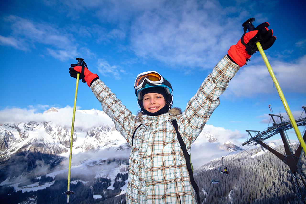 Wallpaper Boys Smile Glove child Winter Skiing eyeglasses Children Glasses