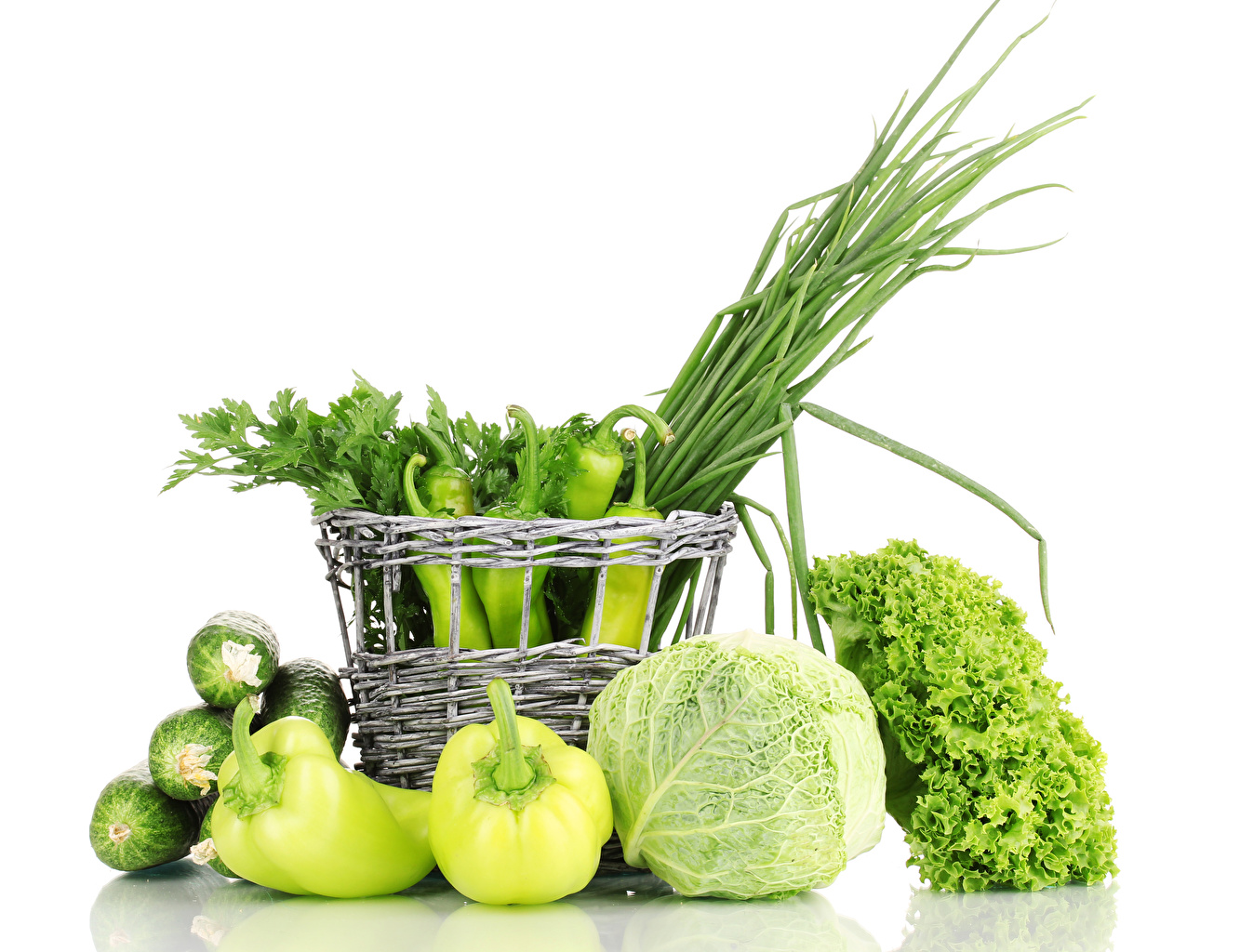 Pictures Green Cabbage Cucumbers Wicker basket Food Pepper Vegetables White background