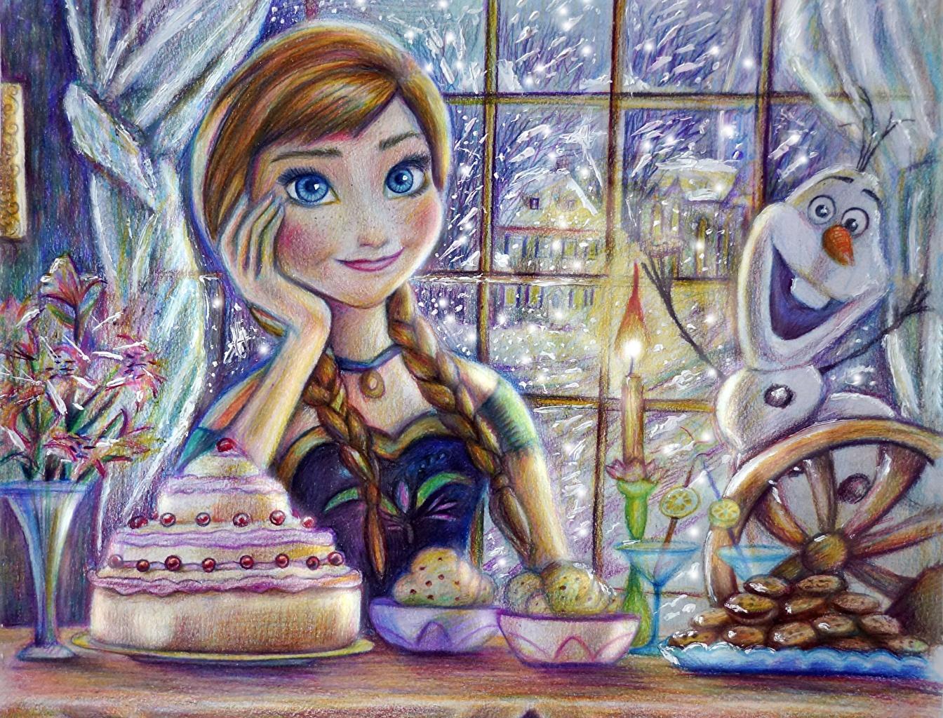 壁紙 アナと雪の女王 ディズニー 描かれた壁紙 Olaf Anna 三つ