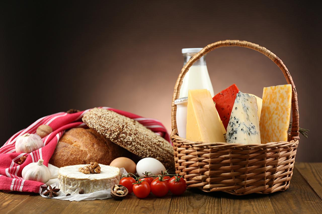 Images Milk Tomatoes Bread Cheese Wicker basket Food Nuts
