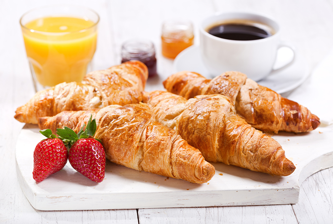 Pictures Coffee Croissant Strawberry Cup Food