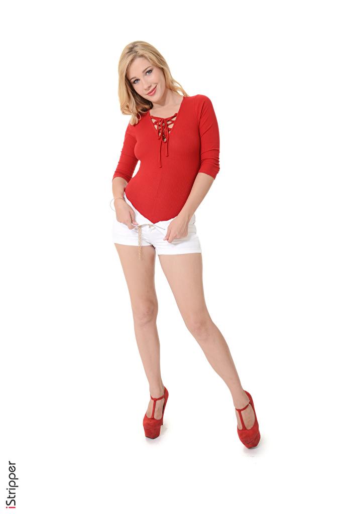 Desktop Hintergrundbilder Genevieve Gandi Blondine iStripper Pose junge Frauen Bein Hand Shorts Weißer hintergrund Stöckelschuh  für Handy Blond Mädchen posiert Mädchens junge frau High Heels